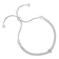 Simply Silver - Sterling silver pave heart mesh toggle bracelet