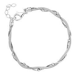 Simply Silver - Sterling silver bead twist mesh bracelet