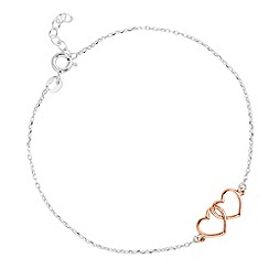 Simply Silver - Rose gold plated sterling silver double heart link bracelet