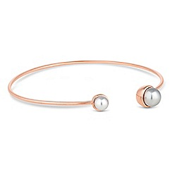 Simply Silver - Rose gold plated sterling silver grey pearl open bangle