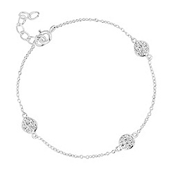 Simply Silver - Sterling silver cubic zirconia pave circle bracelet