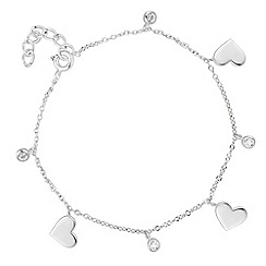 Simply Silver - Simply Silver Sterling silver cubic zirconia heart charm bracelet