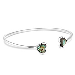 Simply Silver - Sterling silver abalone double heart bangle