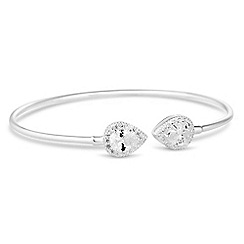 Simply Silver - Sterling silver cubic zirconia peardrop open bangle