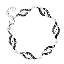 Simply Silver - Sterling silver marcasite wave bracelet