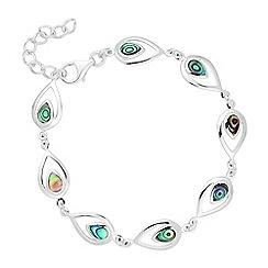 Simply Silver - Sterling silver abalone peardrop link bracelet