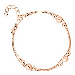 Simply Silver - Rose gold plated sterling silver double row ball bracelet