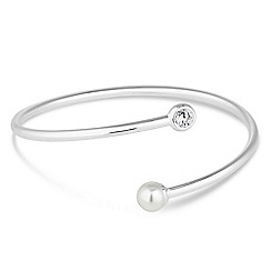 Simply Silver - Sterling silver pearl and cubic zirconia twist open bangle
