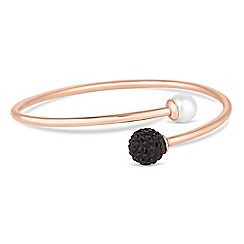Simply Silver - Rose gold plated sterling silver jet pave ball and pearl bangle