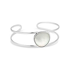 Simply Silver - Sterling silver mother of pearl open bangle