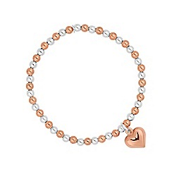 Simply Silver - Sterling silver beaded bracelet with heart charm