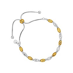 Simply Silver - Gold plated sterling silver bead toggle bracelet