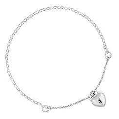 Simply Silver - Sterling silver heart padlock bracelet