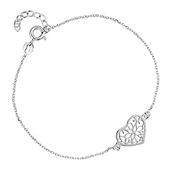 Simply Silver - Sterling silver filigree heart bracelet