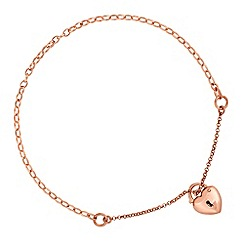 Simply Silver - Rose gold plated sterling silver heart padlock bracelet