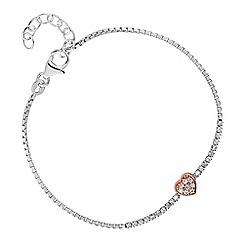 Simply Silver - Sterling silver pave heart bracelet