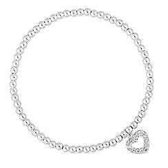 Simply Silver - Sterling silver pave heart charm bracelet
