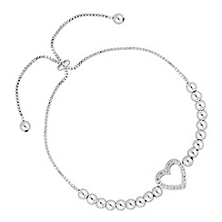 Simply Silver - Sterling silver heart bead toggle bracelet