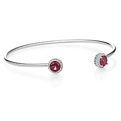 Simply Silver - Sterling silver cubic zirconia halo open bangle