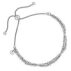 Simply Silver - Sterling silver double row beaded toggle bracelet
