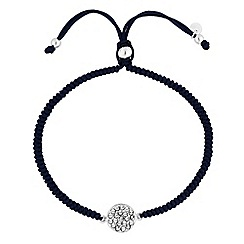 Simply Silver - Sterling silver pave disc corded toggle bracelet