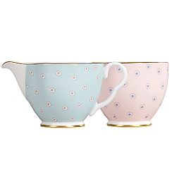 Wedgwood - Polka dot 'Harlequin' cream jug and sugar bowl
