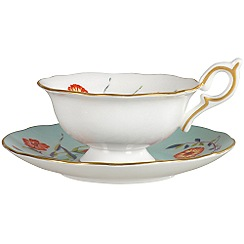 Wedgwood - Turquoise 'Harlequin' crocus teacup and saucer