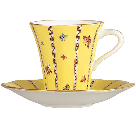 Wedgwood - Yellow 'Harlequin' butterfly teacup and saucer