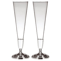 Wedgwood - Set of two silver 'Wish' toasting flutes