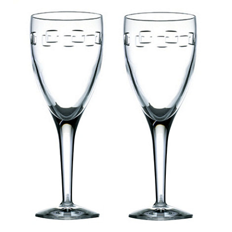 John Rocha at Waterford Crystal - Set of 2 lead crystal +Geo+ red wine glasses