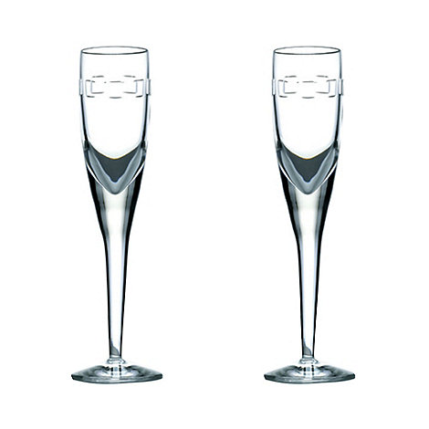 John Rocha at Waterford Crystal - Set of two +Geo+ 24% lead crystal flutes