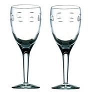 Set of two 'Geo' 24% lead crystal white wine glasses