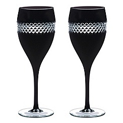John Rocha at Waterford Crystal - Pair of 'Black' 24% lead crystal large wine glasses