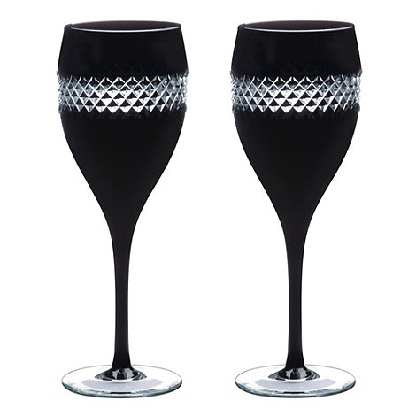 John Rocha at Waterford Crystal - Set of 2 lead crystal +Black+ large wine glasses