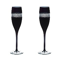 John Rocha at Waterford Crystal - Pair of 'Black' 24% lead crystal Champagne flutes