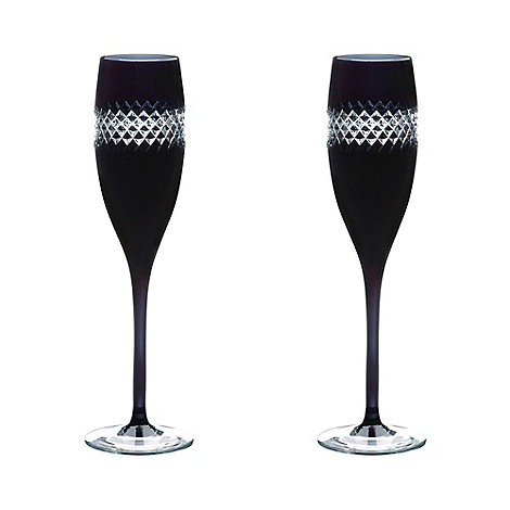 John Rocha at Waterford Crystal - Pair of +Black+ 24% lead crystal Champagne flutes