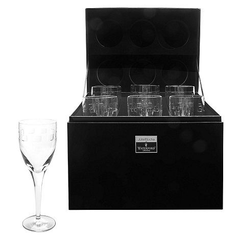 John Rocha at Waterford Crystal - Set of six +Geo+ 24% lead crystal red wine glasses
