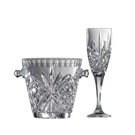 Royal Doulton - Ice bucket and four 24% lead crystal champagne flutes set