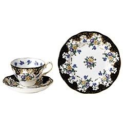 Royal Albert - Black three piece '100 Years of ' 1910 Dutchess tea set
