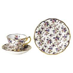Royal Albert - Purple three piece '100 Years of ' 1930 English Chintz tea set