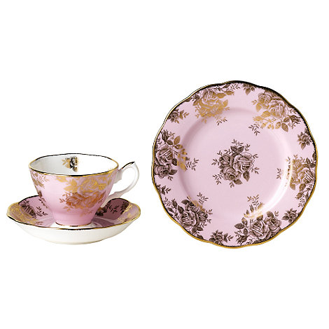 Royal Albert - Pink three piece +100 Years of + 1960 Golden Roses tea set