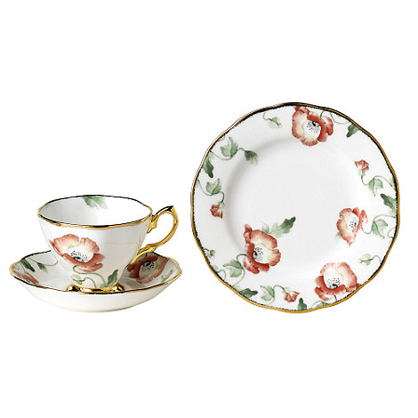 Royal Albert - Red three piece +100 Years of + 1970 Poppy tea set