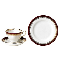 Royal Albert - Dark Red three piece '100 Years of ' 1980 Holyrood tea set