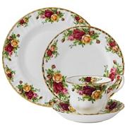 Twenty piece red 'Old Country Rose' dinner set