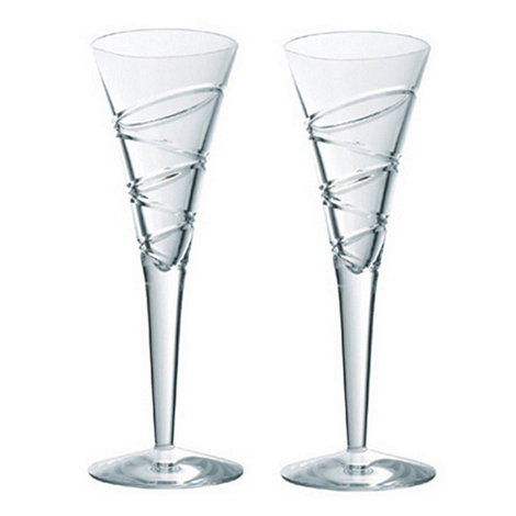 Jasper Conran at Waterford Crystal - Pair of +Aura+ 24% lead crystal champagne flutes
