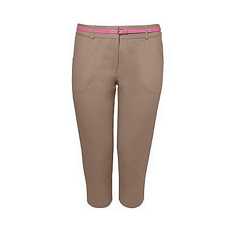 Gorgeous - Taupe belted cropped trousers