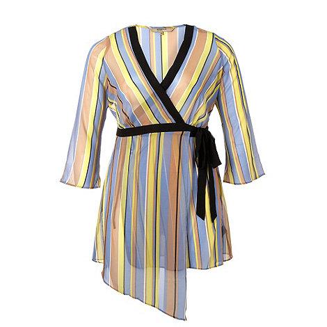 Gorgeous - Blue striped sheer wrap top