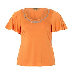 Gorgeous - Orange embellished neck t-shirt