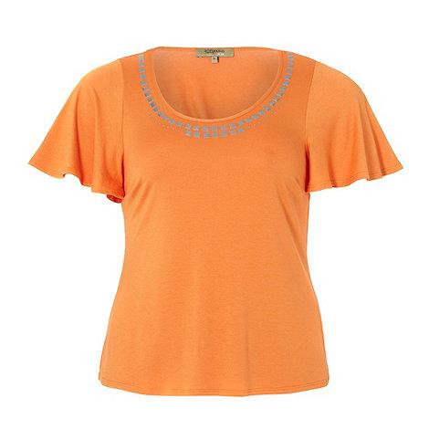 Gorgeous - Orange embellished neck t-shirt