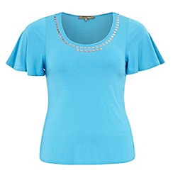 Gorgeous - Blue embellished neck top